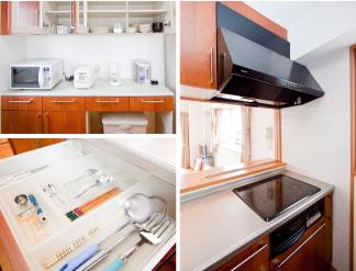 明るく機能的な対面キッチン