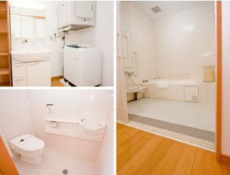 トイレ、浴室は手すりを取り付けバリアフリー対応