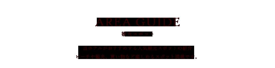 AREA GUIDE観光スポット 当ホテルがおすすめする人気観光スポットの紹介ビーチや観光、買い物など楽しめるスポット満載です。